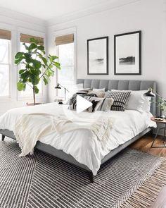 Modern Master Bedroom, Master Bedroom Design, Minimalist Bedroom, Home Decor Bedroom, Bedroom Rugs, Master Suite, Bedroom Ideas Grey, Grey Wall Bedroom, Condo Bedroom