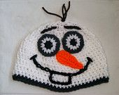 Crochet Olaf the snowman hat inspired from the Disney movie Frozen.
