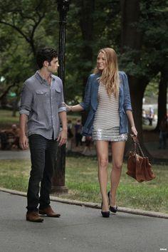 Blake Lively wearing Gryphon Crocheted Sequin Striped Miniskirt and Nanette Lepore Petal Linen Boyfriend Blazer.