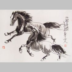 original horse painting chinese painting ink painting  oriental art chinese art -galloping horses No.16