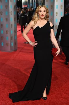 Kate Winslet wearing the Jimmy Choo KARMEL pump and carrying the CLOUD clutch at the 2016 #BAFTAs