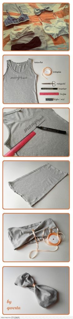 bandeau, how to make one from a tee! It's in a different language but oh well