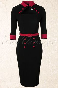 Bunny - 50s Clara Pencil Dress in Black