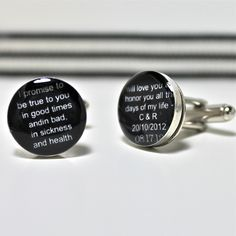 Wedding Vows Cufflinks in Black and White.  Customizable for You and Made to Order.