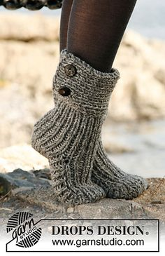 """Moon Socks"" - Slippers in 2 strands ""Nepal"" pattern by DROPS design  Time to start Christmas knitting~!"