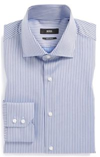 BOSS Hugo Boss - Gerald Regular Fit Stripe Dress Shirt: Blue stripes are staple in a work shirt wardrobe and this is fresh and sophisticated match to any grey, blue or brown suits and sport coats.
