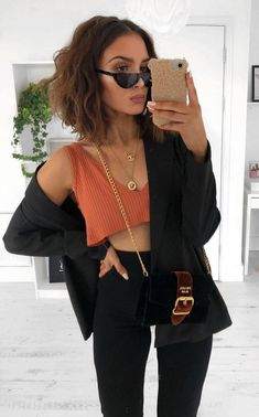 how to style a crop top : bag cardi black pants