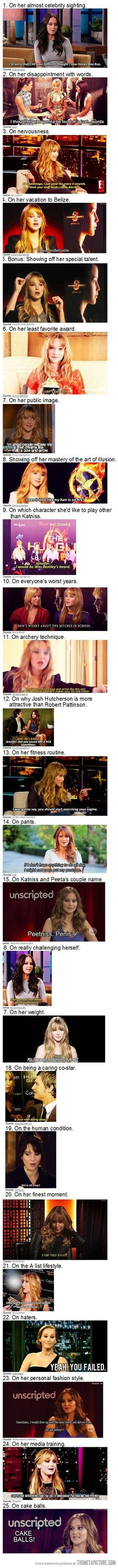 Jennifer Lawrence's brilliance… In addition to her talent, this is why I really like her.