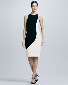 Crepe Two-Tone Sculpted Dress by Rachel Roy at Neiman Marcus.