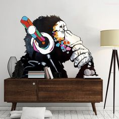 Position by default - Facing left At the request - Facing right Banksy Vinyl sticker Banksy decal Banksy sticker Banksy Monkey Monkey sticker Monkey headphones Monkey decal Monkey wall art Banksy wall art Graffiti Art by Banksy Banksy Wall Stickers, Banksy Wall Art, Graffiti Art, Vinyl Wall Art, Wall Decals, Banksy Monkey, World Map Art, Decorate Your Room, Custom Paint