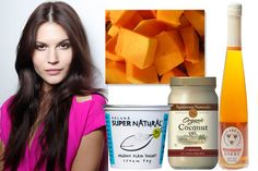 Pumpkin Conditioner: For this treatment, White says to combine two cups chopped, cooked pumpkin with a tablespoon of yogurt and puree in a blender. Add a tablespoon of honey and one of coconut oil, then mix to ensure it's smooth and well blended. Apply the mixture to damp hair, then cover hair with a plastic shower cap and wait 15 minutes. Rinse it out and style as usual.