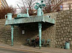 Liberec (Czech Republik) - a bus stop designed by David Černý