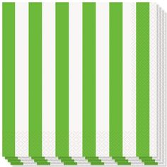Green and White Stripes Theme Luncheon Napkins - 2Ply - 33cms - Pack of 16 | Partyrama.co.uk