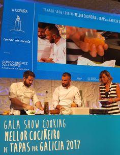 Ayer por la tarde, representando #ACoruña en la gala showcooking #DeTapasxGalicia organizada por Turismo de Galicia, Chisco Jiménez y Xalo Muñiz de Taberna da Galera presentaron su tapa tartar de jurel. #VisitaCoruña y ñam, ñam! #SaboreaCoruña #galicia #turismo #gastronomia Tapas, Cooking, Cuisine, Kitchen, Brewing, Kochen