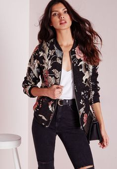 Missguided - Black Premium Embroidered Floral Bomber Jacket