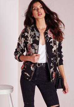 Missguided - Black Premium Embroidered Floral Bomber Jacket