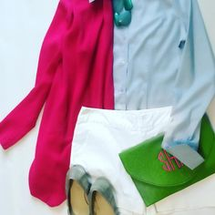 This past weekend I decided to go away from my usual yoga pants and t-shirt for my son's soccer game. It was nice to be a little dressy for the game. White shorts, green clutch, grey flats, light blue button down, and a bright pink cardigan.