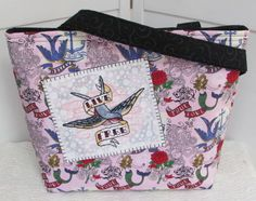 Live Free Sparrow Tattoo Large Tote Bag by Mokadesigntotes on Etsy, $38.00