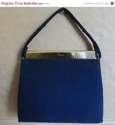 40% OFF SALE 1950s Vintage Colbot Blue Handbag by camelotvintage