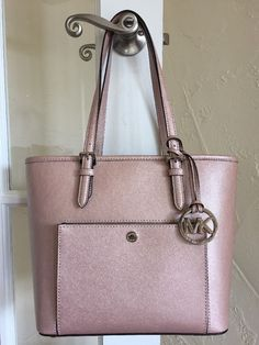 Michael Kors Jet Set Medium Snap Pocket Tote Metallic Ballet Pink | eBay