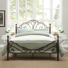 Weston Home Adison Graceful Scrolls Poster Metal Bed, Multiple Sizes Bed Frame And Headboard, Headboards For Beds, Wood Headboard, Rustic Bedroom Furniture, Bedroom Decor, Bedroom Ideas, Master Bedroom, Bedroom Stuff, Furniture Vintage