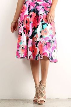Pink watercolor floral aline skirt. The perfect modest valentines skirt