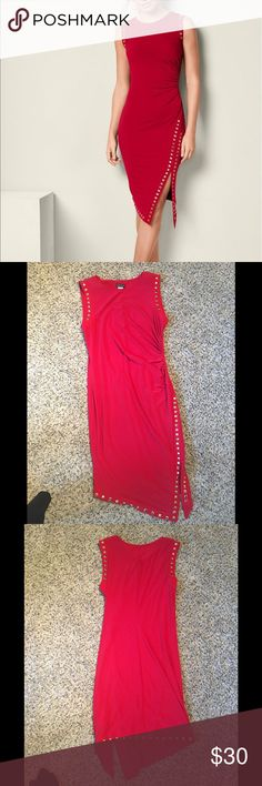Red Ebellished Ruched Red Dress L New without tags / Never worn Structured red dress is outlined with gold studs and has ruching in all the right spots for a beautiful shape. Clean, smoke free home VENUS Dresses Midi