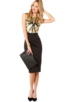 42e17f6ce46 Knee length pencil skirt  amp  structured blouse with sheen are awesome.  Holiday Party Outfit