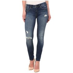 Blank NYC Ripped Skinny Jeans in Blue Women's Jeans ($88) ❤ liked on Polyvore featuring jeans, destroyed jeans, skinny jeans, skinny fit jeans, super skinny jeans and leather jeans