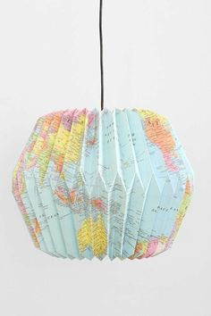 Origami Lampenschirm + Anleitung Mehr The Research Paper Idea But this is not the identical for ever Origami Diy, Origami Lampshade, Origami Paper, Origami Templates, Paper Lampshade, Origami Folding, Box Templates, Map Crafts, Diy And Crafts
