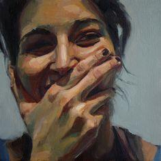"""Minicuadro"" - David Fernandez Saez {contemporary artist female head woman face smile portrait painting} Giddy !!"