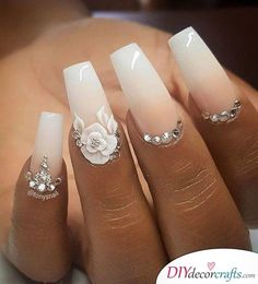 We offer you very modern ideas of 2018 Wedding Nail Designs that will become you. - makeup and nails for me - We offer you very modern ideas of 2018 Wedding Nail Designs that will become you. - makeup and nails for me - Cute Acrylic Nails, Acrylic Nail Designs, Cute Nails, Pretty Nails, Nail Art Designs, Wedding Acrylic Nails, Fancy Nails, Acrylic Nails With Design, Fancy Nail Art