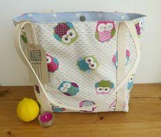 Owl Knitting Bag, Beach Tote Bag, Lined Shopping Bag, New Mom Gift, Summer…