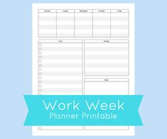 Weekly Work Week Printable Planner. Keep track of your busy schedule and all of your important tasks for work with this organized template. Space to write your appointments, to do lists, and more.  What You Need To Know --------------------------------------------------------------------------------------------------------  ► Digital PDF available for download after purchase  ► Print on standard size 8.5 x 11 printer paper  ► Print as many copies as you want  About This Printable…