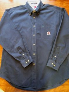 Tommy Hilfiger Button Down XL Shirt Mens Navy Blue Crest 100% Cotton   #TommyHilfiger #ButtonFront