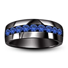 1CT. T.W. Lab Created Sapphire Men's Wedding Band Sterling 925 Silver Ring FR128 #WithGemstones