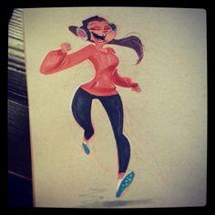Pinup Arena • 2dbean: Running happy #2dbean #art #sketch...
