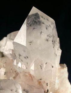 """Quartz w/ Hollandite / Madagascar aka """"star quartz"""", a favorite of mine"""