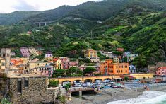 Download wallpapers Cinque Terre, Mediterranean Sea, resort, beach, mountains, Monterosso, Italy