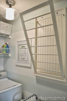 laundry room. Wall mounted drying rack