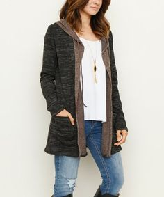 Another great find on #zulily! Black Hooded Open Cardigan #zulilyfinds
