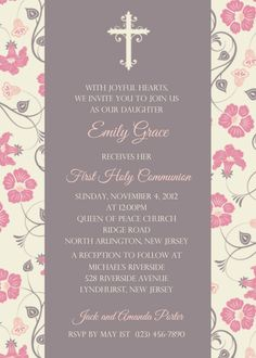 Pink Floral Communion Invitation by afairytalebeginning on Etsy