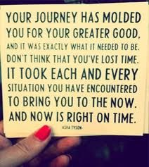 """""""Your journey had molded you for your greater good. And it was exactly what it needed to be. Don't think that you've lost time. It took each and every situation you have encountered to bring you to the now. And now is right on time."""""""