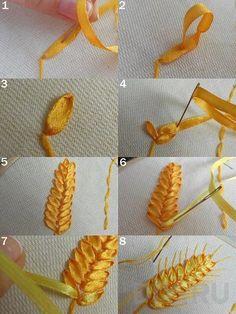 Ribbon embroidery wheat