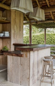 Recycled bar- I like the 2 bench heights