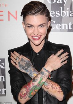 Ruby Rose cosies up to fiancee Phoebe Dahl and actress Evan Rachel ...