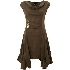 Izabel London Cut & Sew Dress (£26) ❤ liked on Polyvore featuring dresses, short dresses, vestidos, brown, khaki, women, sleeveless dress, cowl neck mini dress, no sleeve dress and brown dress