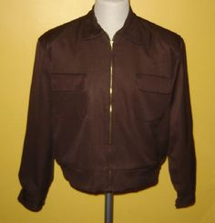 Blouson en gabardine marron foncé, style années 1950Rockabilly