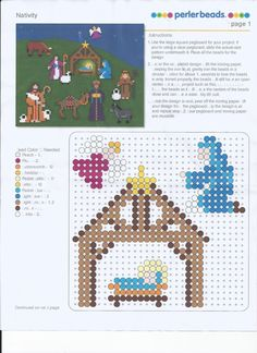 Almost Unschoolers: The Very First Noel and a Perler© Bead Nativity Christmas Nativity Scene, Nativity Crafts, Christmas Crafts, Nativity Scenes, Christmas Perler Beads, Diy Perler Beads, Hama Beads Patterns, Beading Patterns, Childrens Christmas Movies