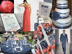Coral and Navy Wedding Ideas. Coral and Blue Wedding Ideas. Coral Wedding Colors, Wedding Color Schemes, Blue Wedding, Dream Wedding, Summer Wedding, Wedding Themes, Wedding Designs, Wedding Ideas, Wedding Stuff